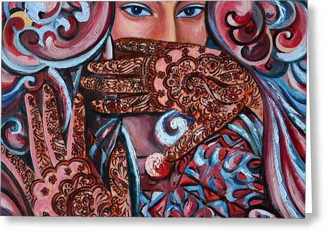 Greeting Card featuring the painting Henna by Harsh Malik
