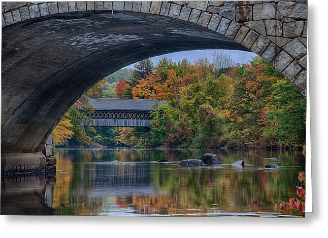 Greeting Card featuring the photograph Henniker Covered Bridge No. 63 by Jeff Folger