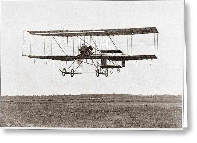 Henri Farman Winning The Grand Prix Of Two Thousand Pounds For The Longest Flight Of 112 Miles Greeting Card by Bridgeman Images