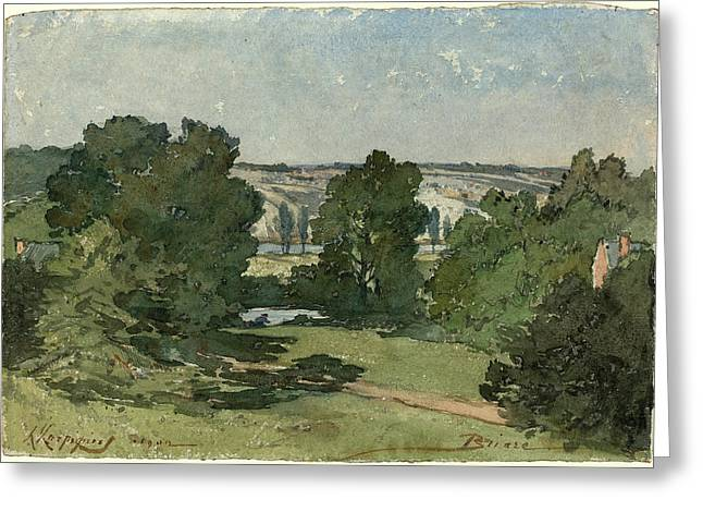 Henri-joseph Harpignies, Briare, French, 1819-1916 Greeting Card by Litz Collection