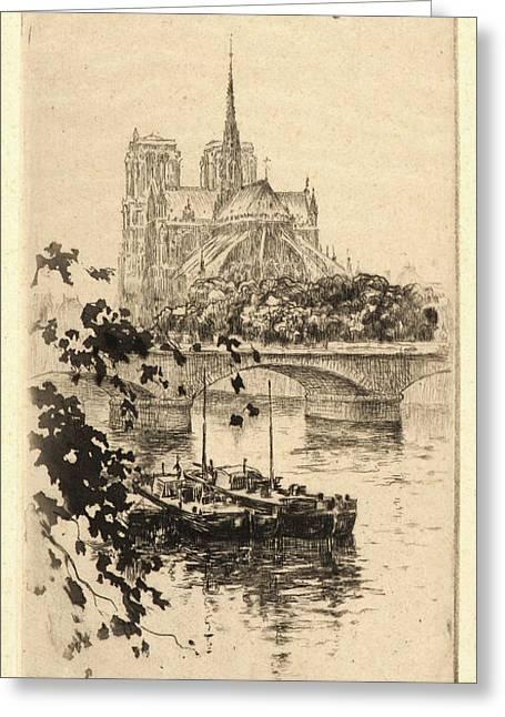 Henri Le Riche French, Born 1867 - . Notre Dame Greeting Card