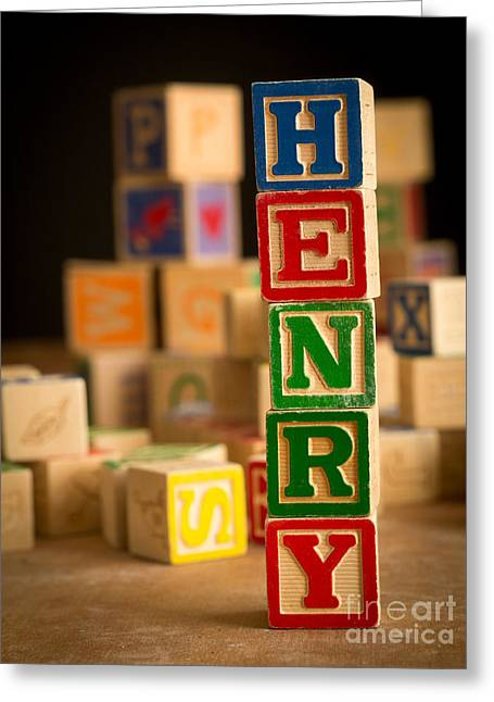 Henry - Alphabet Blocks Greeting Card by Edward Fielding