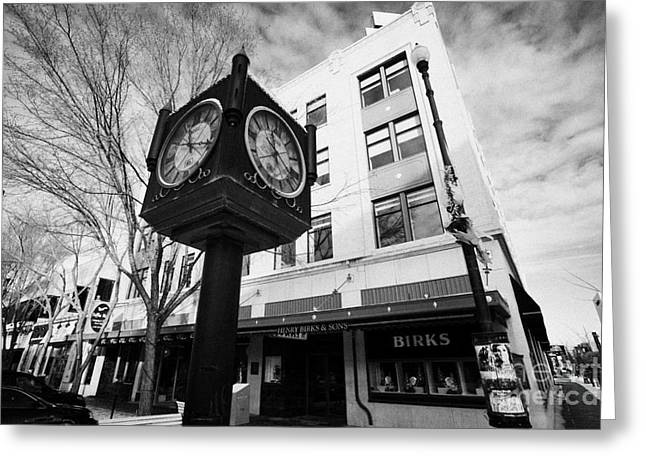 henry birks and sons jewellry store and town clock downtown Saskatoon Saskatchewan Canada Greeting Card