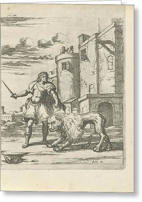Henry, Count Of Holstein Tames A Lion, Arnold Houbraken Greeting Card