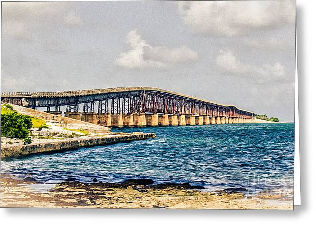 Henry Flagler's Railroad Bridge Key West Florida Greeting Card by Rene Triay Photography