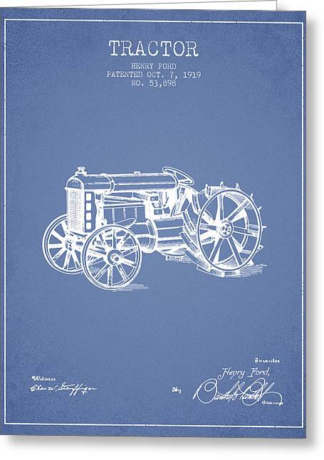 Henry Ford Tractor Patent  From 1919 - Light Blue Greeting Card by Aged Pixel