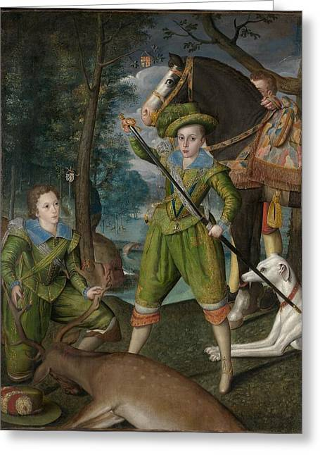 Henry Frederick Prince Of Wales With Sir John Harington In The Hunting Field Greeting Card