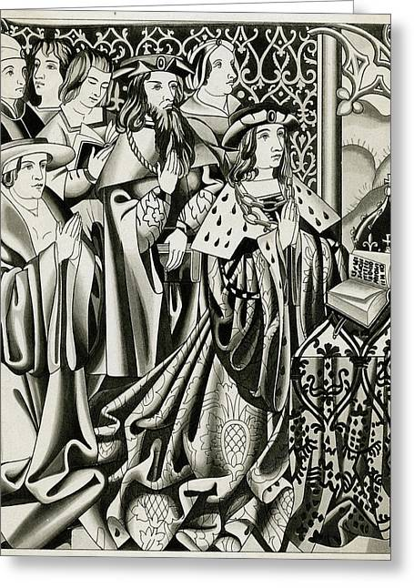 Henry Vi And His Court At  Prayer Greeting Card by Mary Evans Picture Library