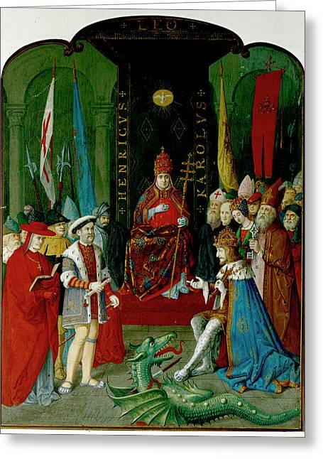 Henry Viii Charles V And Leo X Greeting Card by British Library