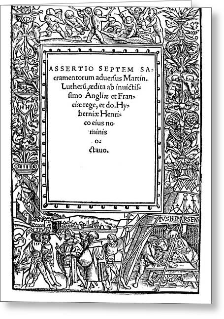 Henry Viii Title Page, 1521 Greeting Card