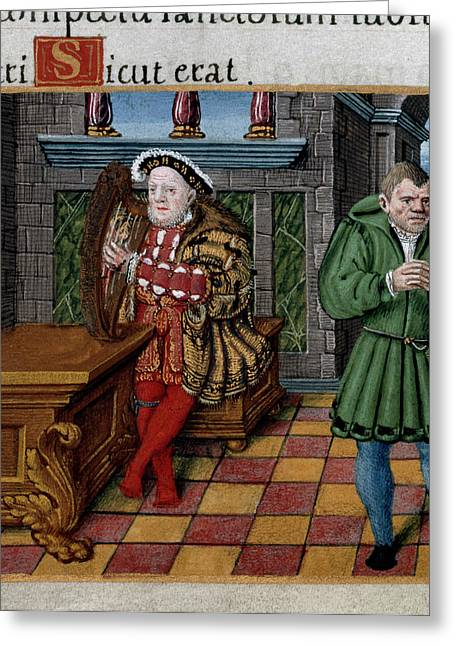 Henry Viii With Harp Greeting Card by British Library