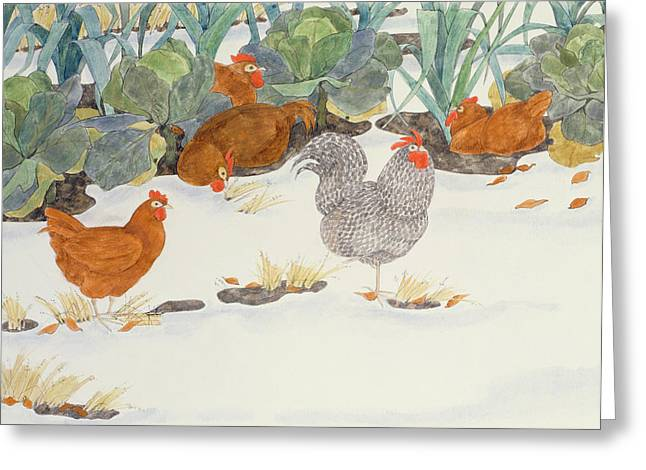 Hens In The Vegetable Patch Greeting Card