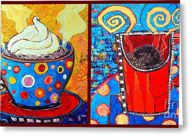 Her And His Coffee Cups Greeting Card by Ana Maria Edulescu