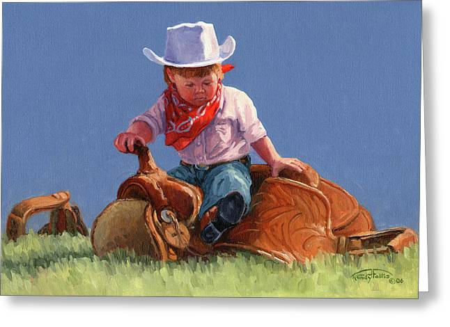 Her First Taste Of Texas Greeting Card by Randy Follis