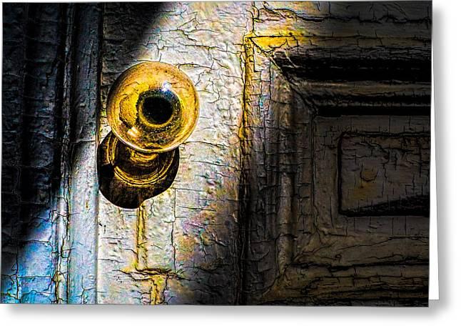 Her Glass Doorknob Greeting Card by Bob Orsillo