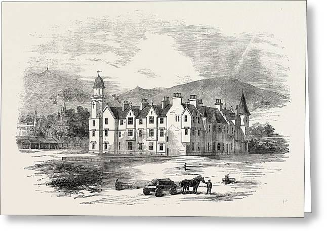 Her Majestys New Castle Of Balmoral From The North-east Greeting Card by English School