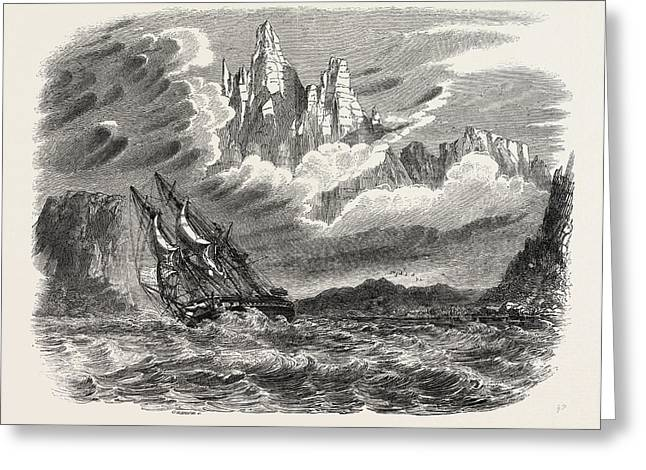 Her Majestys Ship Meander In A Squall Greeting Card by English School