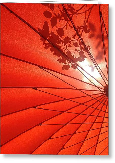 Her Red Parasol Greeting Card by Brenda Pressnall