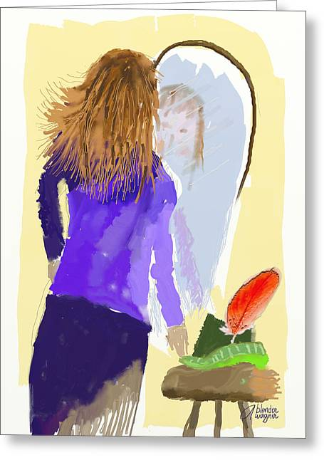 Greeting Card featuring the digital art Her Reflection by Arline Wagner