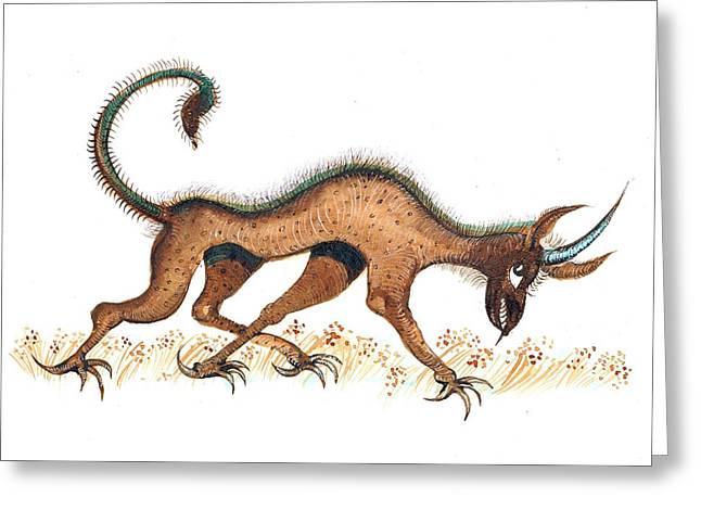 Heraldic Fantasy Creature Greeting Card by Ion vincent DAnu