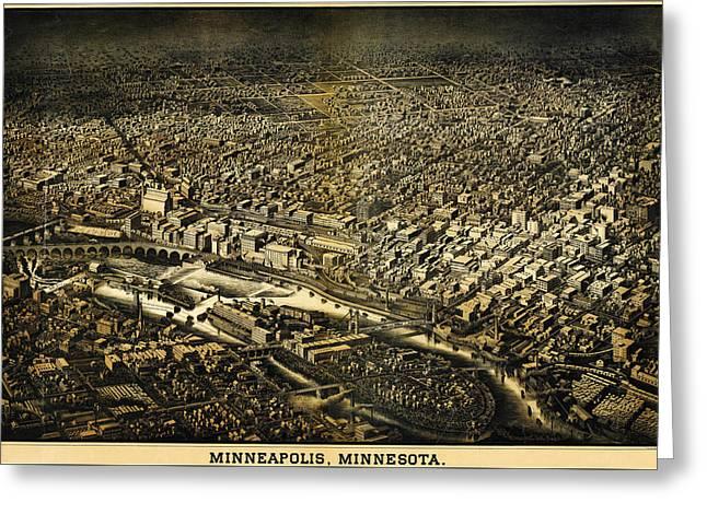 Herancourts Birdseye Of Minneapolis 1885 Greeting Card by MotionAge Designs