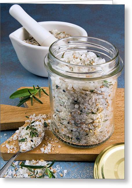 Herb And Spiced Salt Greeting Card by Nico Tondini