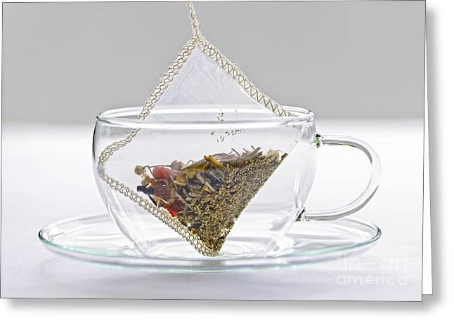 Herbal Tea Bag In Cup Greeting Card by Elena Elisseeva