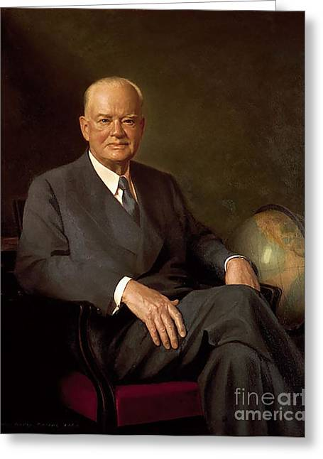Herbert Hoover Greeting Card by Wesley Greene