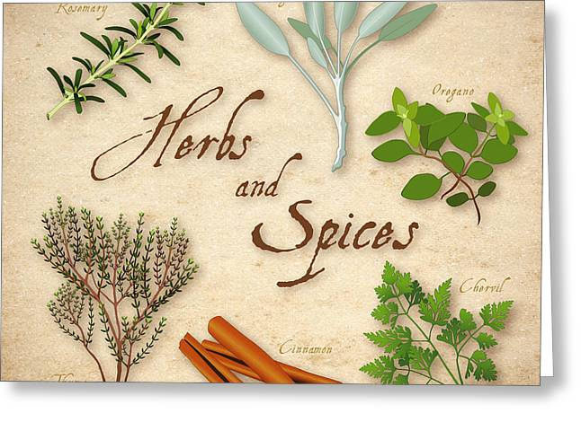 Herbs And Spices Greeting Card by J M Designs