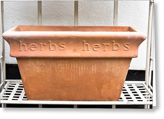 Herbs Container Greeting Card by Tom Gowanlock