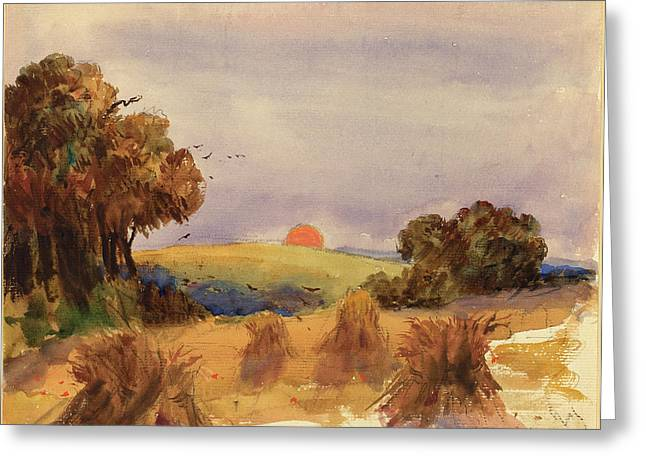 Hercules Brabazon Brabazon, A Cornfield At Sunset Greeting Card by Quint Lox