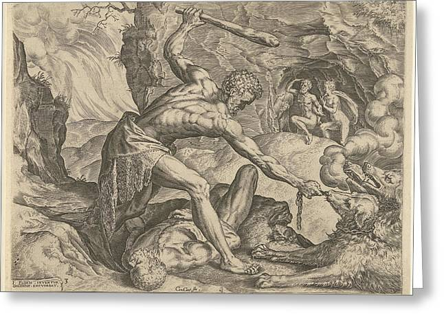 Hercules Drags Cerberus From Hell, Julius Goltzius Cornelis Greeting Card
