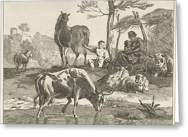 Herd Of Cattle In Hilly Landscape, Jan Matthias Cok Greeting Card by Jan Matthias Cok