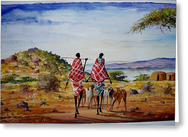 Herding Home Greeting Card by Malack Kelvin