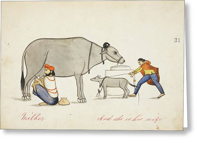 Herdsman Milking A Cow Greeting Card by British Library