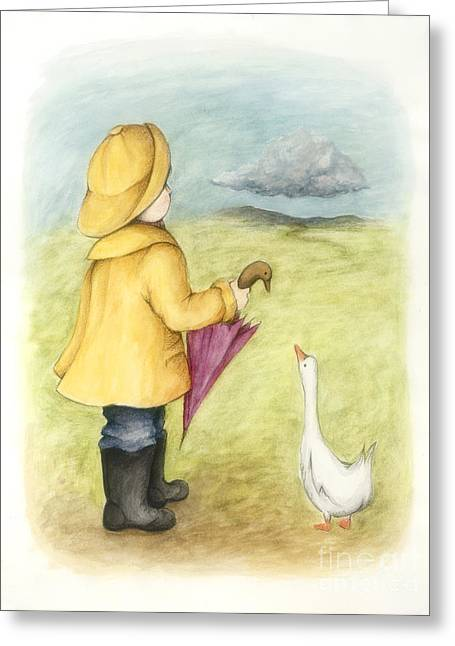 Here Comes The Rain Greeting Card by Diane Smith
