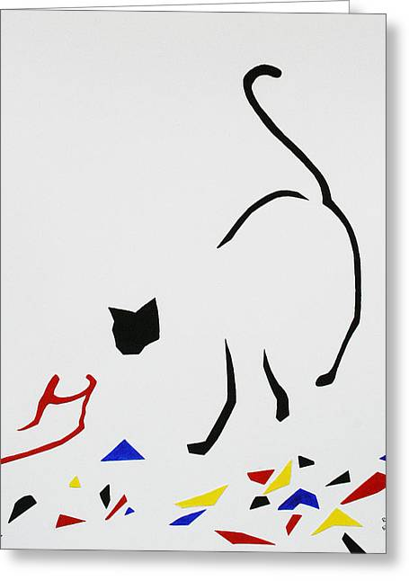 Here Kitty Kitty Greeting Card by Eve Riser Roberts