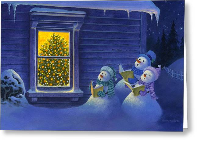 Here We Come A Caroling Greeting Card by Michael Humphries