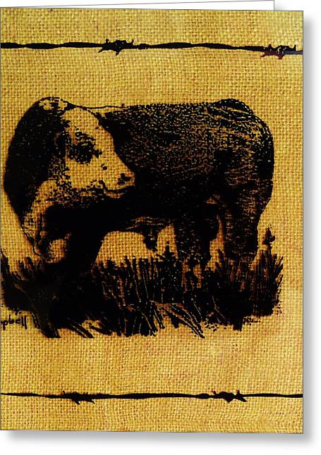 Polled Hereford Bull 12 Greeting Card by Larry Campbell