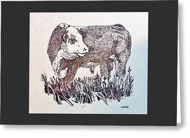 Greeting Card featuring the drawing Polled Hereford Bull  by Larry Campbell