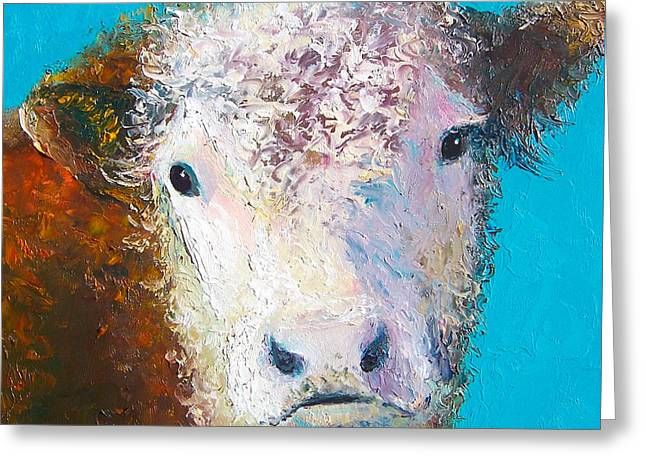 Hereford Cow Named Grace Greeting Card by Jan Matson