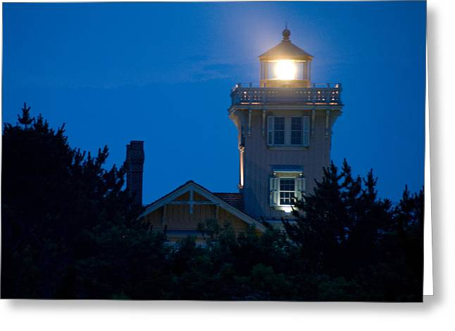 Hereford Inlet Lighthouse At Dusk Greeting Card