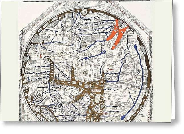 Hereford Mappa Mundi 1300 With Detail Text Large White Border Greeting Card by L Brown