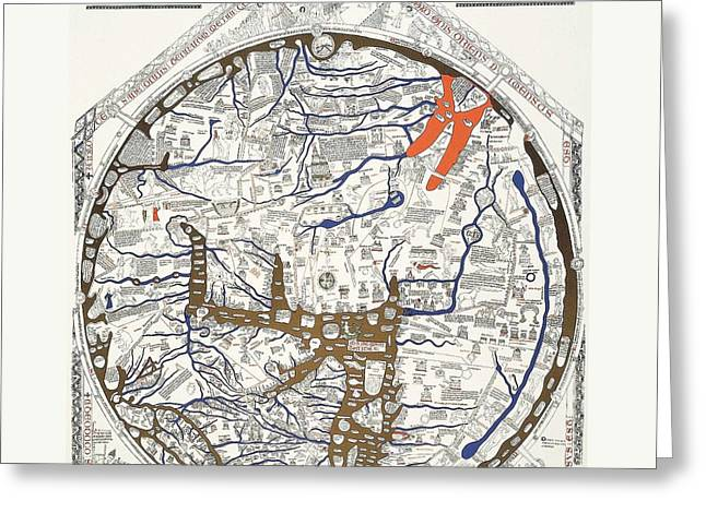 Hereford Mappa Mundi With Detail Greeting Card by L Brown