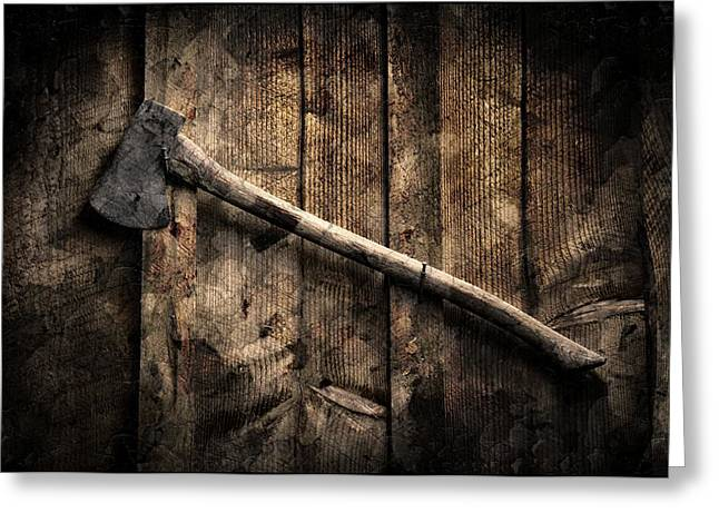 Greeting Card featuring the photograph Wood Cutter by Aaron Berg