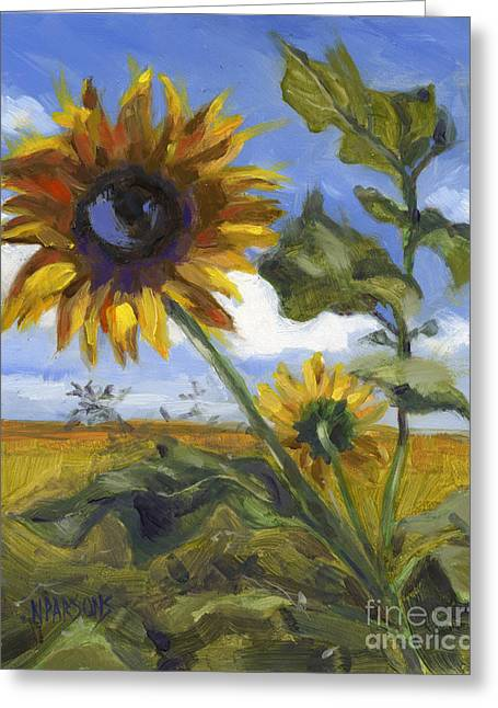 Greeting Card featuring the painting Here's Looking At You Kid by Nancy  Parsons