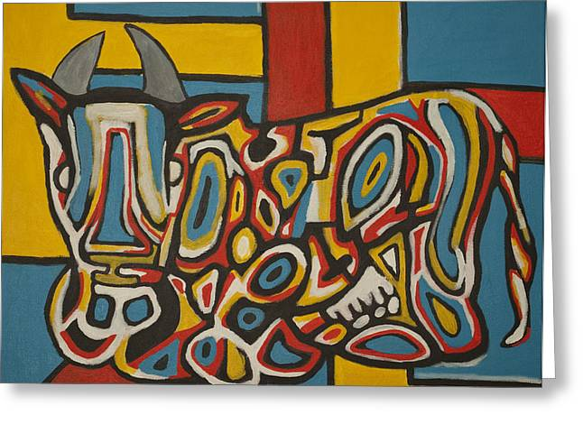 Haring's Cow Greeting Card by Jose Rojas