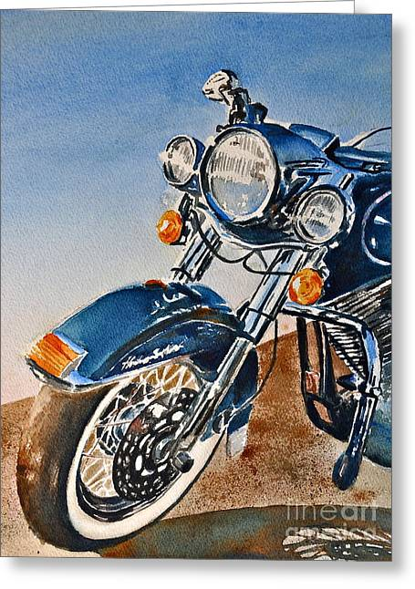 Heritage Softail Greeting Card by Andrea Timm