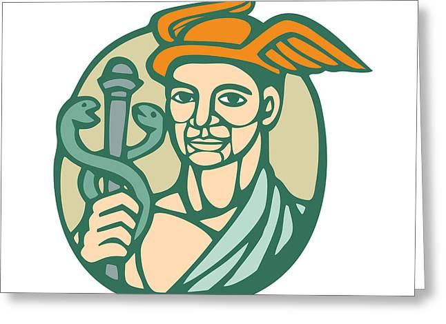 Hermes Holding Cadaceus Woodcut Linocut Greeting Card