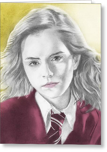 Hermione Granger - Individual Yellow Greeting Card by Alexander Gilbert